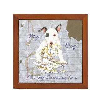 Organizador De Escritorio Mi bull terrier miniatura comió mi plan de lección