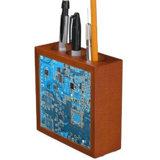 Organizador De Escritorio Placa de circuito del friki del ordenador - azul