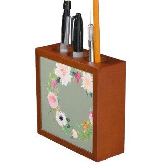 Organizador del escritorio, guirnalda de la flor portalápices