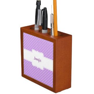 Organizador púrpura y blanco del escritorio de los