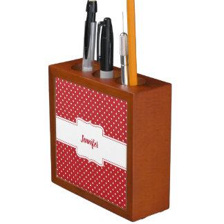 Organizador rojo y blanco del escritorio de los