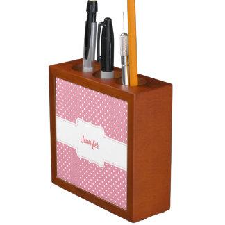 Organizador rosado y blanco del escritorio de los