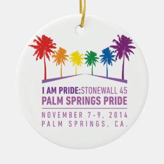 Orgullo 2014 del Palm Springs Adorno Navideño Redondo De Cerámica