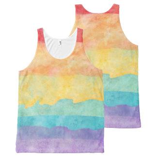 Orgullo de la acuarela LGBT del arco iris Camiseta De Tirantes Con Estampado Integral