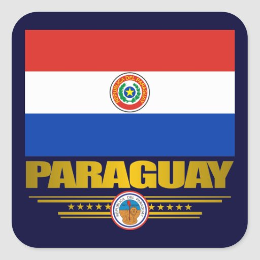 """""""Orgullo de Paraguay """" Pegatinas Cuadradas"""