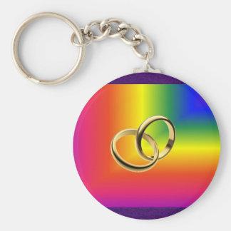 Orgullo del arco iris con las alianzas de boda del llavero redondo tipo chapa