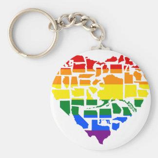 Orgullo gay en los 50 estados llavero redondo tipo chapa