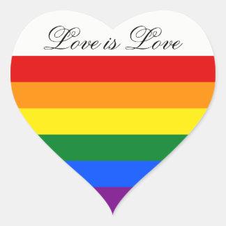Orgullo gay lesbiano de la bandera LGBT del arco Pegatina En Forma De Corazón