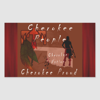 orgulloso cherokee pegatina rectangular