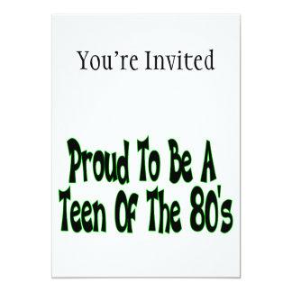 Orgulloso para ser años 80 adolescentes invitación 12,7 x 17,8 cm