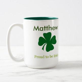 Orgulloso ser taza de café personalizada irlandés