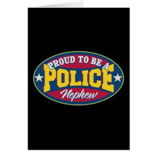 Orgulloso ser un sobrino de la policía tarjeta de felicitación