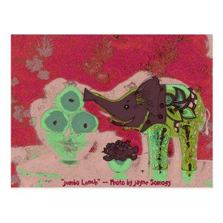 Orig. Foto--Elefante y manzanas verdes en rojo Postal