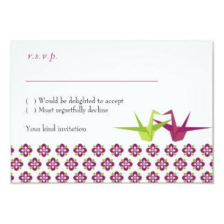 Origami Cranes casar las tarjetas de RSVP con los Invitación 8,9 X 12,7 Cm