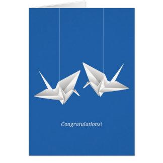Origami Cranes enhorabuena del boda Tarjeta De Felicitación