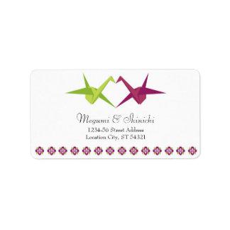 Origami Cranes la dirección del boda Etiqueta De Dirección