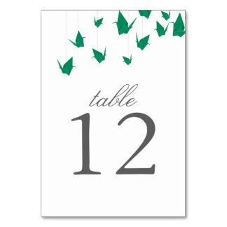 Origami Cranes la tarjeta del número de la tabla