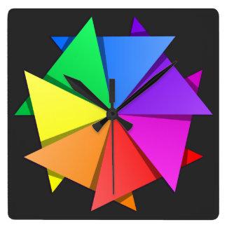 origami del arco iris reloj cuadrado