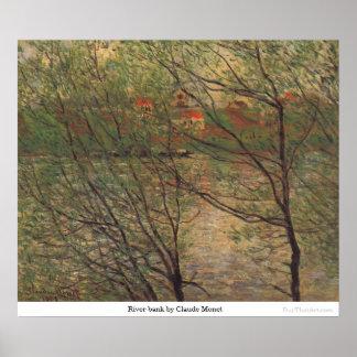 Orilla del río de Claude Monet Póster