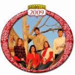 Ornamento 2009 del navidad de la foto de familia esculturas fotograficas
