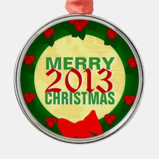 Ornamento 2013 del árbol de las Felices Navidad Adorno Redondo Plateado