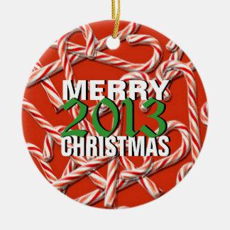 Ornamento 2013 del árbol de las Felices Navidad Adorno Redondo De Cerámica
