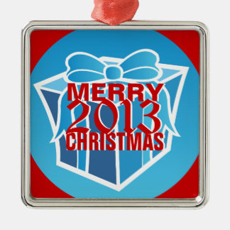 Ornamento 2013 del árbol de las Felices Navidad Adorno Cuadrado Plateado
