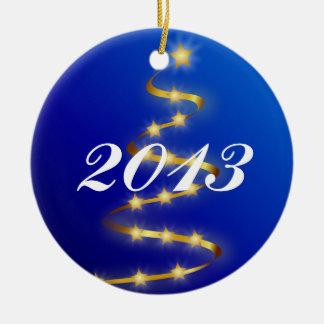 Ornamento 2013 del árbol de navidad adorno navideño redondo de cerámica