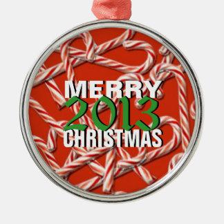 Ornamento 2013 del árbol del bastón de caramelo de adorno navideño redondo de metal