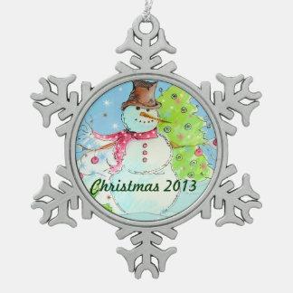 Ornamento 2013 del copo de nieve del navidad adorno de peltre en forma de copo de nieve