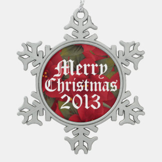 Ornamento 2013 del copo de nieve del Poinsettia de Adornos