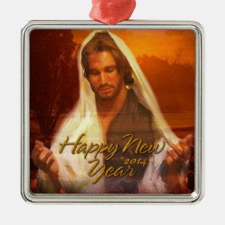 Ornamento 2014 de Jesús de la Feliz Año Nuevo Adorno Navideño Cuadrado De Metal