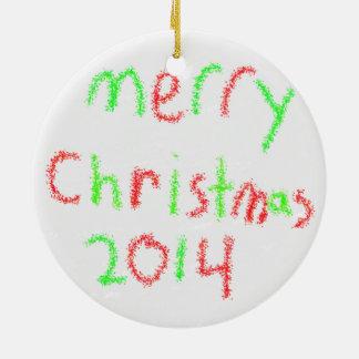 Ornamento 2014 de la familia adorno navideño redondo de cerámica