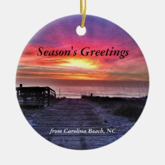 Ornamento 2014 del árbol de navidad de la playa de adorno navideño redondo de cerámica