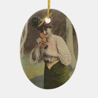 Ornamento 2014 del navidad de la belleza del adorno navideño ovalado de cerámica