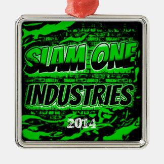 Ornamento 2014 del navidad de las INDUSTRIAS del Adorno Navideño Cuadrado De Metal