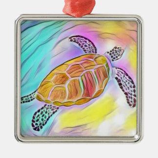 Ornamento 2 de la acuarela de la tortuga de mar