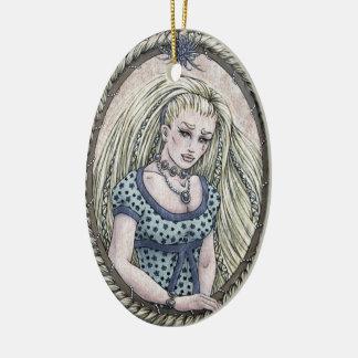 """Ornamento #2 del arte de la fantasía de """"Rapunzel"""" Adorno Navideño Ovalado De Cerámica"""