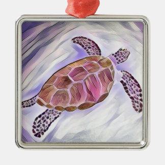 Ornamento 3 de la acuarela de la tortuga de mar