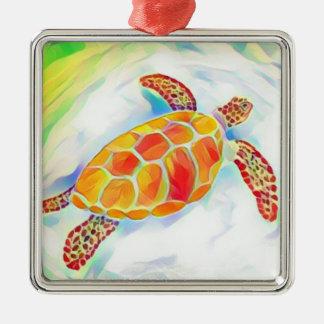 Ornamento 4 de la acuarela de la tortuga de mar