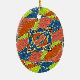 Ornamento abstracto multicolor adorno navideño ovalado de cerámica