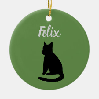 Ornamento adaptable de la silueta del gato (verde
