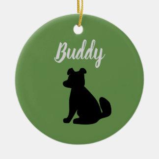 Ornamento adaptable de la silueta del perro (verde