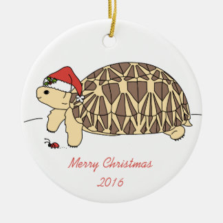 Ornamento adaptable de la tortuga de la estrella adorno navideño redondo de cerámica