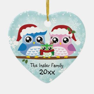 Ornamento adaptable del corazón de la familia del adorno navideño de cerámica en forma de corazón