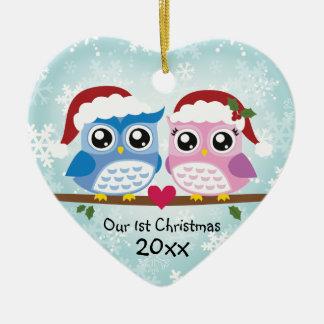 Ornamento adaptable del corazón de los pares del adorno navideño de cerámica en forma de corazón