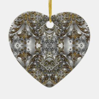 Ornamento adornado de la forma del corazón del est ornamento de navidad