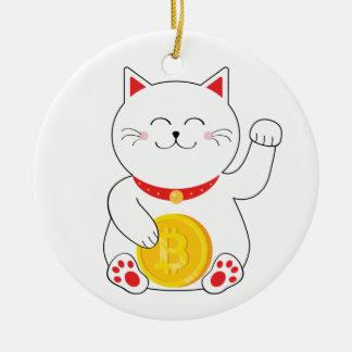 Ornamento afortunado de Bitcoin del gato de Maneki