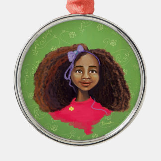Ornamento africano de la pintura del retrato del adorno redondo plateado