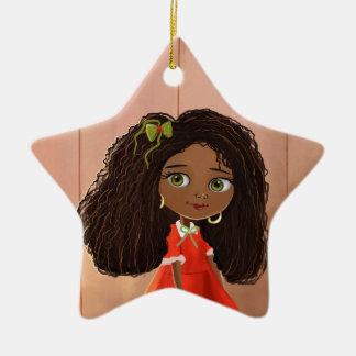 Ornamento africano del chica del dibujo animado ornamentos de navidad